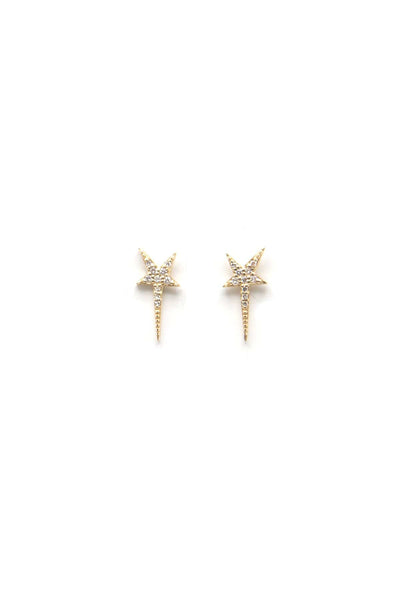 14K Gold Long Star Studs
