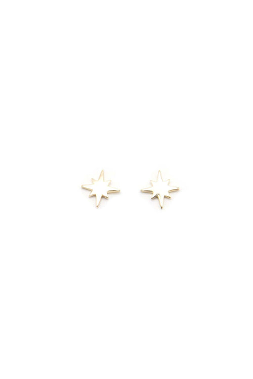 14K Gold Smooth Starburst Studs