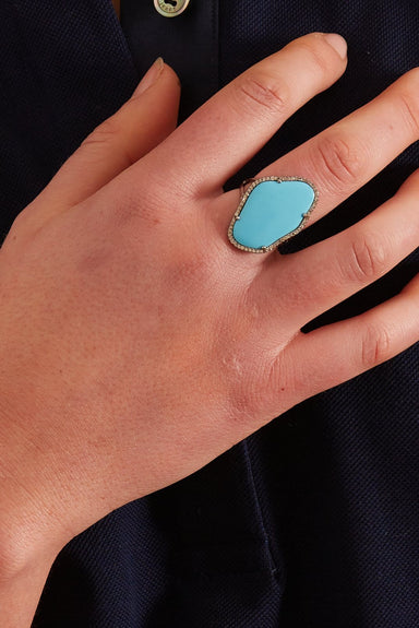 Diamond and Turquoise Statement Ring