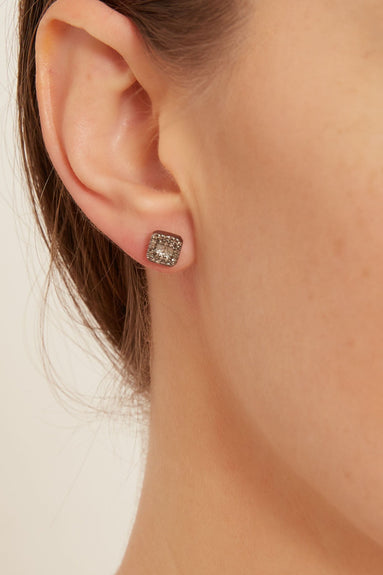 Pave and Baguette Diamond Square Studs
