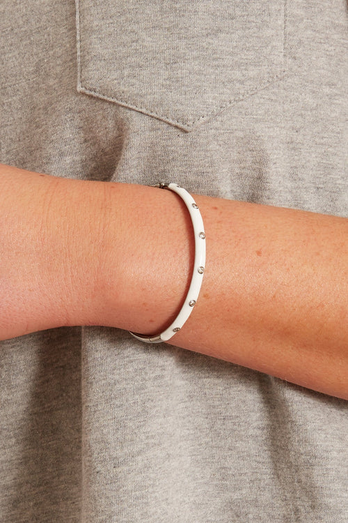 White Enamel Pave Bangle