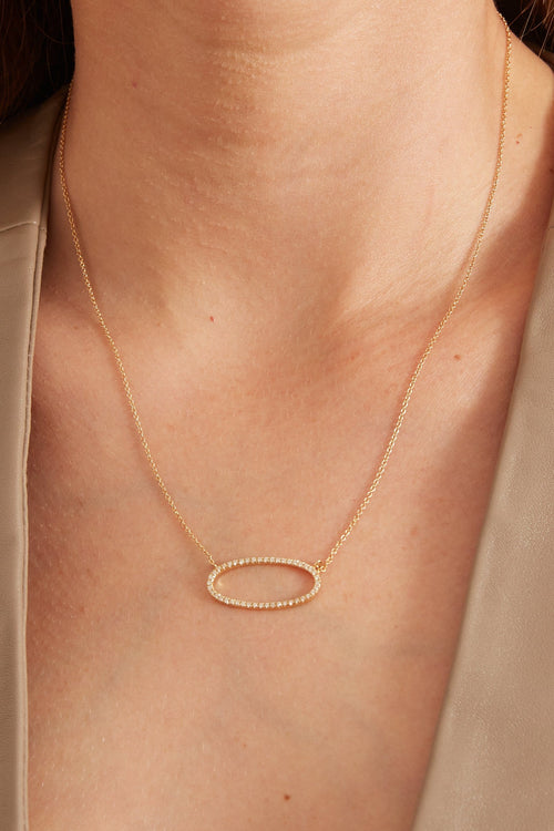 14K Gold Oval Necklace