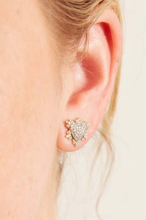 14k Gold and Sterling Silver Mixed Metal Heart Studs