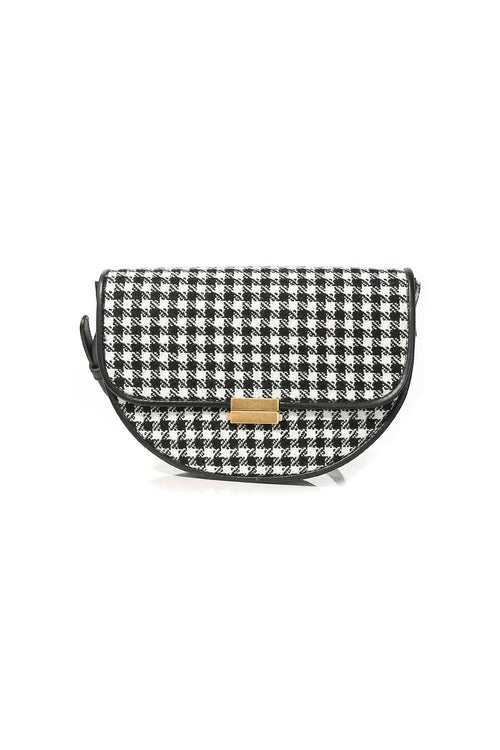 Anna Big Wool Belt Bag in Houndstooth