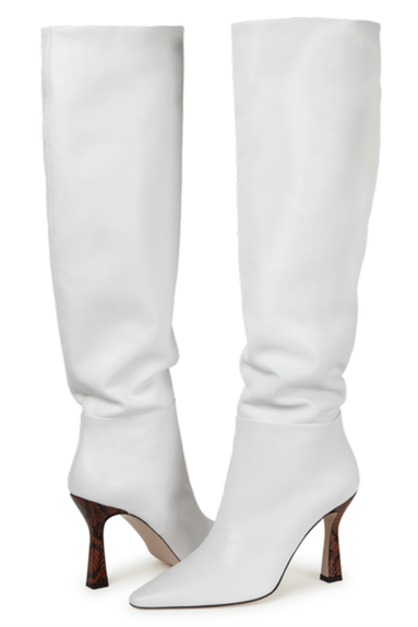 Lina Long Boot in White/Python Tan