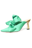 Lotte Satin Mule in Grass
