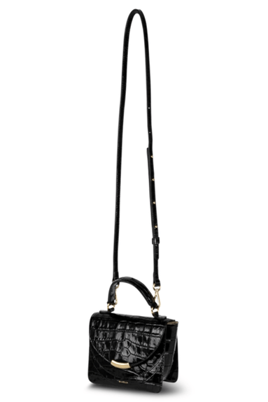 Luna Mini Arch Croco Bag in Black