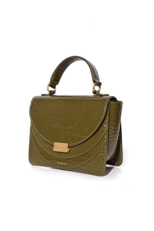 Luna Mini Croco Bag in Olive