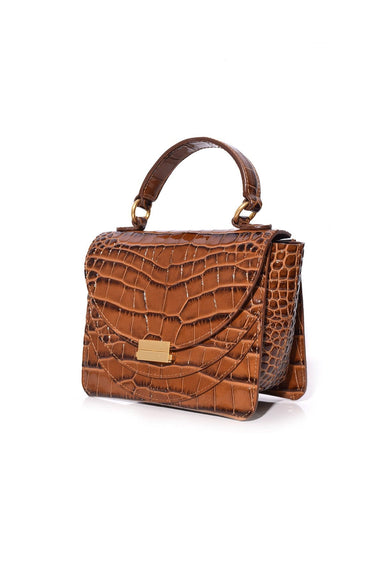 Luna Mini Croco Bag in Toffee