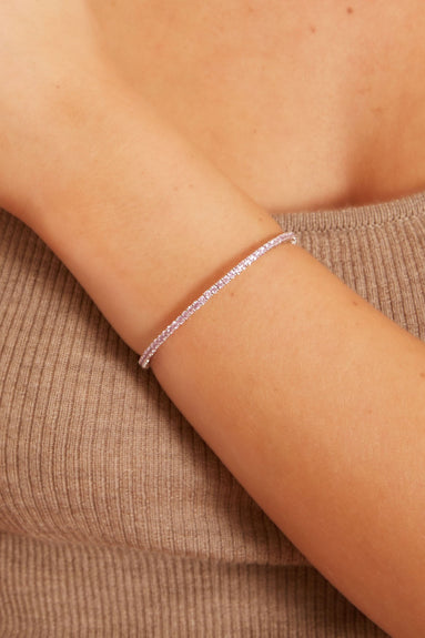 Pink Sapphire Flex Bangle in 18kt White Gold