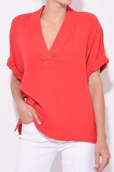 Avery Top in Sun Red
