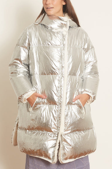 Kalgan Long Hair Coat in Silver/Ivoire