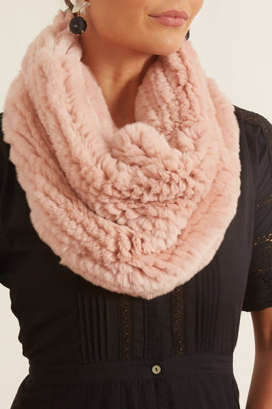 Knitted Rabbit Snood in Bouton de Rose