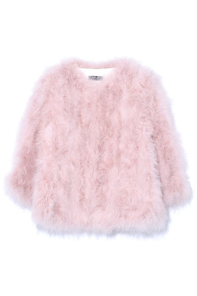 Feather Jacket in Bouton de Rose