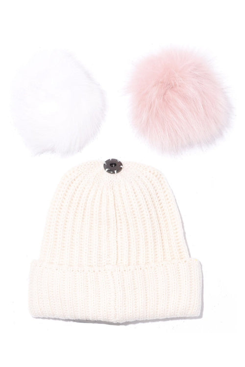 Knit Hat with Pompon in Blanc