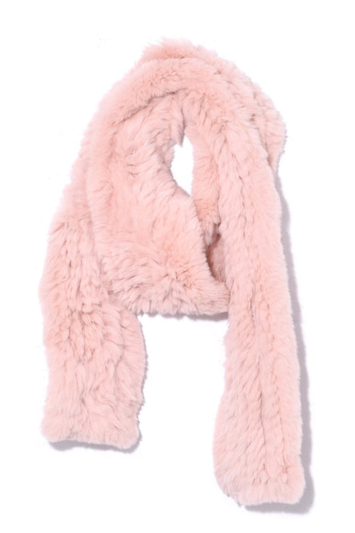 Knitted Rabbit Scarf in Bouton de Rose