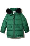 Light Fox Puffer Coat in Cactus/Black