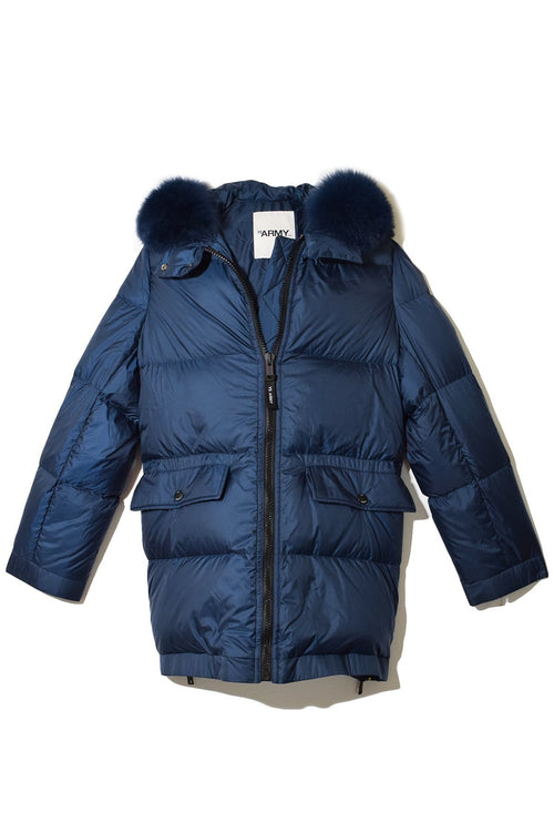 Light Fox Puffer Coat in Marine