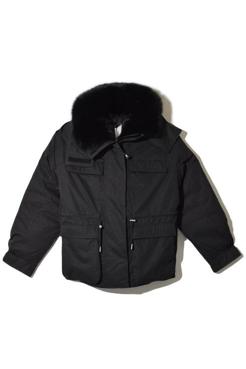 Nylon and Fox Trim Bachette Jacket in Noir