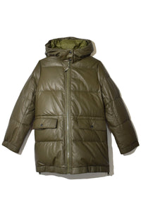 Nylon and Leather Puffer Coat in Hunter Green