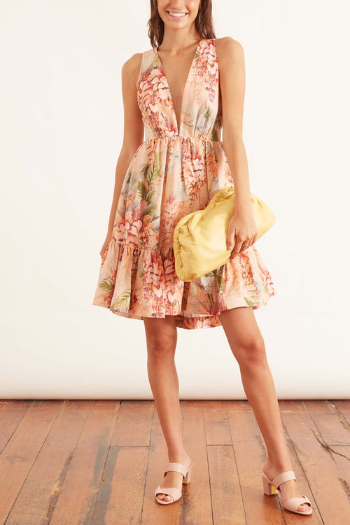 Candescent Plunge Neck Mini Dress in Coral Tree Print