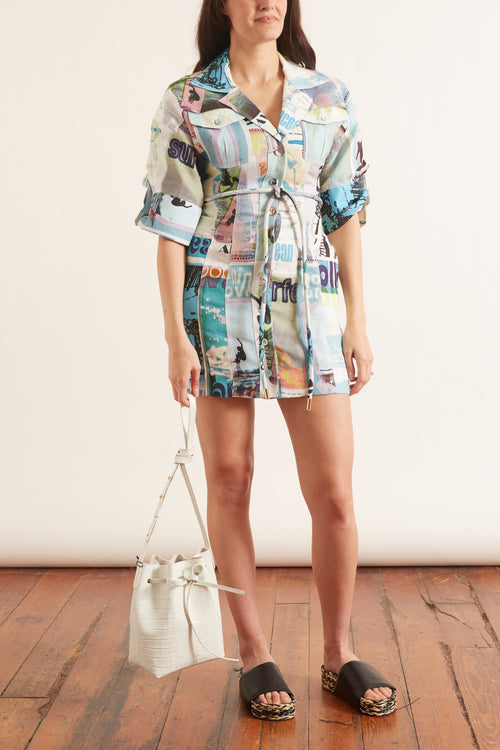 Glassy Safari Mini Dress in Blue Poster Print