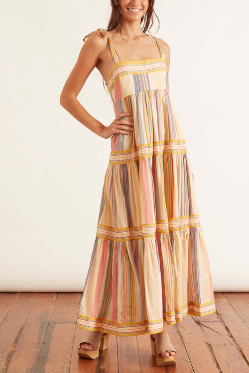 Mae Tie Shoulder Dress in Multi Stripe