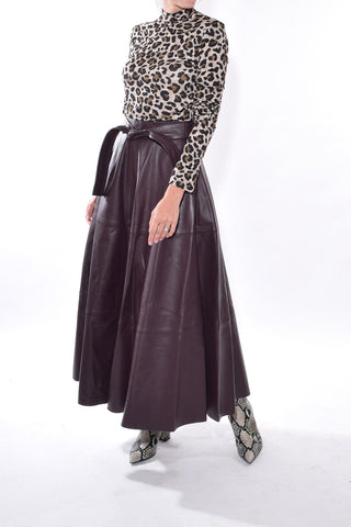 Resistance Leather Skirt in Mahogany