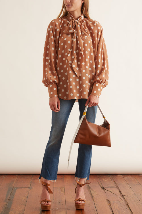Batwing Silk Blouse in Tan/Pearl Dot