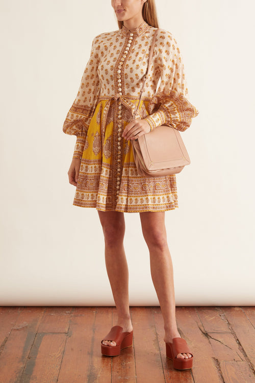 Bonita Buttoned Dress in Mustard Paisley