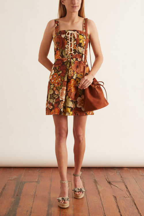 Bonita Lace Up Mini Dress in Chocolate Floral