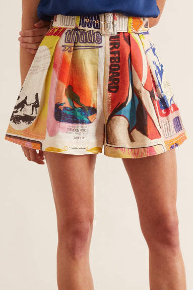 Brightside Flared Shorts in Golden Poster Print