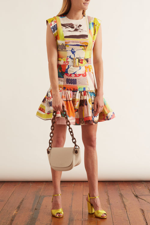 Brightside Fluted Mini Dress in Golden Poster Print