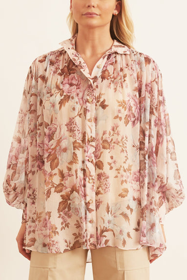 Charm Lantern Blouse in Lilac Floral