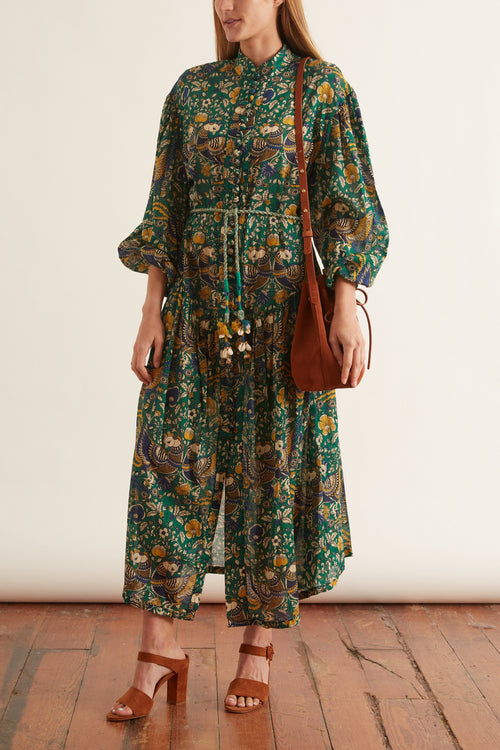 Edie Drop Waist Long Dress in Peacock