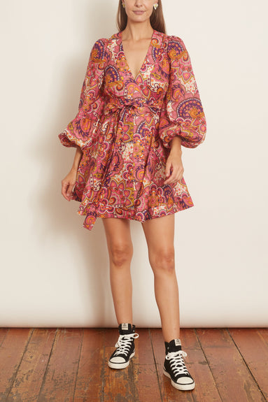 Fiesta Wrap Short Dress in Pink Paisley