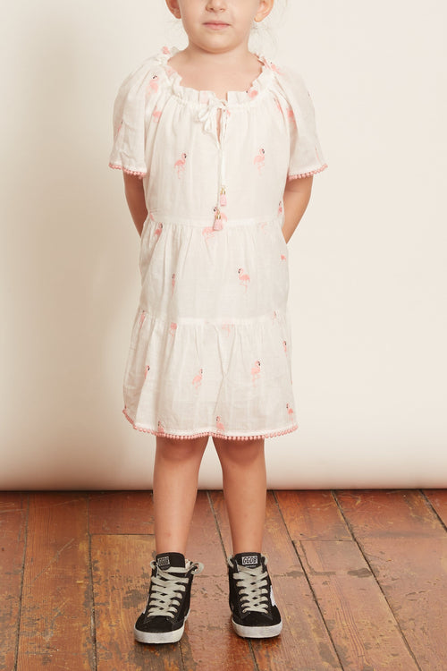 Kids Bells Short Sleeve Tiered Dress in Pink Flamingo