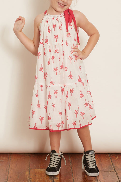 Kids Juliette Halter Tie Dress in Pink Palm