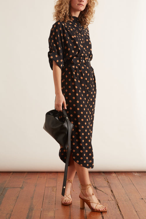 Silk Utility Midi Dress in Black/Tan Dot