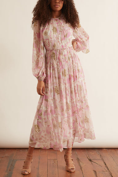Super Eight Braid Midi Dress in Pink Poppy