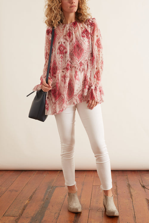 Wavelength Asymmetric Blouse in Raspberry Ikat