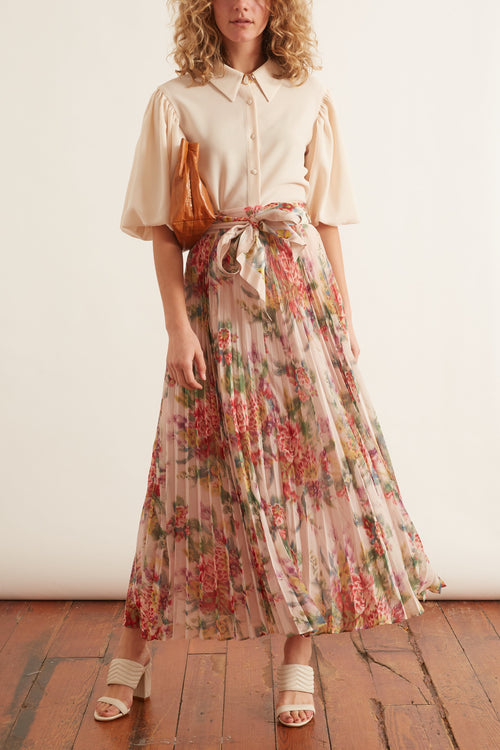 Wavelength Skirt in Pink Scarlet Floral
