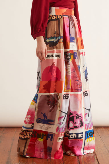 Wavelength Slouch Pant in Pink Poster Print