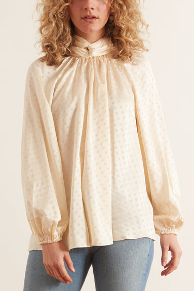 Wavelength Twist Neck Blouse in Champagne