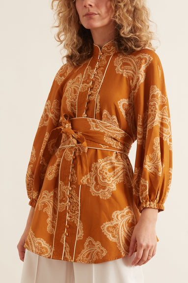 Wavelength Waist Tie Blouse in Gold Paisley