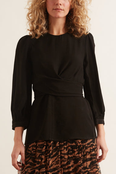 Wrap Front Bodice Top in Black
