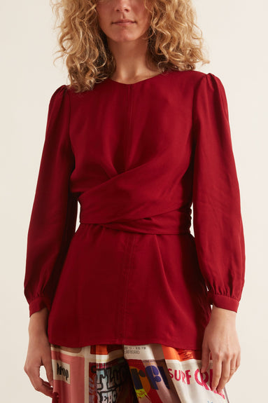 Wrap Front Bodice Top in Burgundy