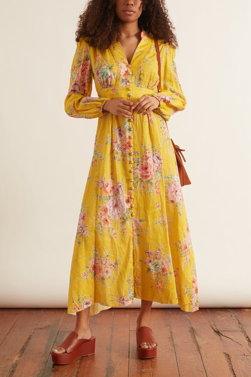 Zinnia Button Front Long Dress in Golden Floral