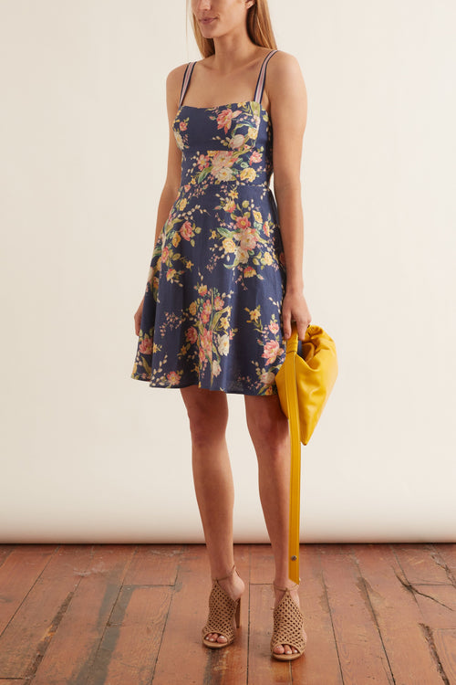 Zinnia Strap Mini Dress in Cobalt Floral