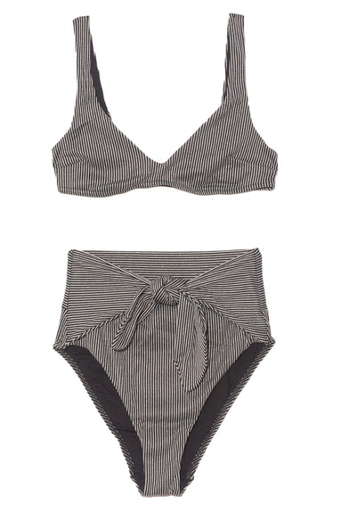 Bellitude Tie Bikini in Black/Ivory Stripe